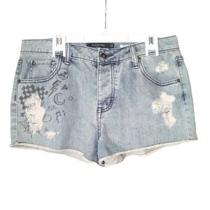 Vintage high rise graphic jean shorts